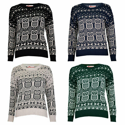 Women Ladies Long Sleeve Knitted Cross Owl Print Christmas Xmas Jumper • 7.99£