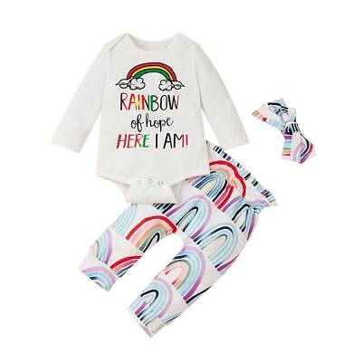 Newborn Baby Girl Boy Rainbow Romper Tops Jumpsuit Outfits Clothes + Pants + Hat • 12.91£