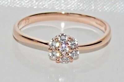 9ct Rose Gold 0.20CT Daisy Cluster Engagement Ring Size P • 65£