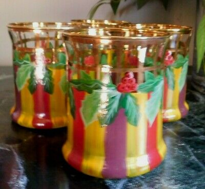 $50 • Buy Mackenzie-childs  Holly And Berry, Holiday Tumblers,new With Tags