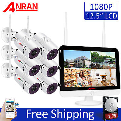 ANRAN 8CH 12  Monitor 1080P Wireless Security Camera System Outdoor 1TB HDD CCTV • 278.94£