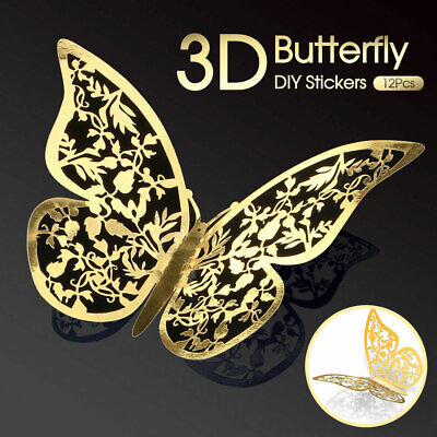 AU4.88 • Buy 12 PK 3D NEW Butterfly Wall Decals Stickers Removable Kids Nursery Decoration AU