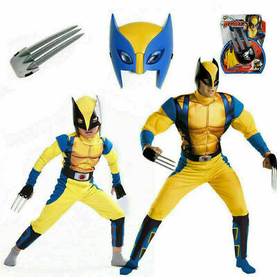 Boys Kid Wolverine Christmas Costume Tight Muscle Suit Cosplay Party Fancy Dress • 16.88£