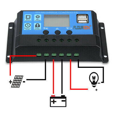 £12.34 • Buy 10A 20A 30A PWM/MPPT Solar Charge Controller Panel Battery Dual USB Output 400W