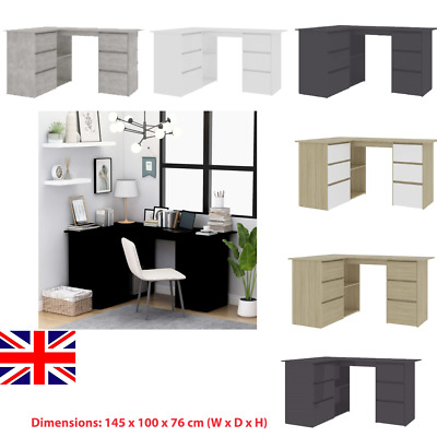 L-Shaped Corner Computer Desk  Home Office Writing Table With Shelf&Drawers MDF • 356.94£