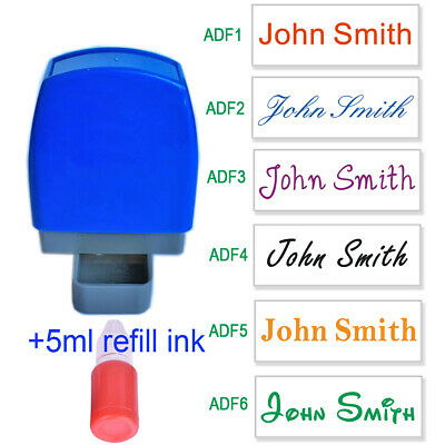 Personalise Name Signature Custom Self Inking Stamp1 Line 31x10mm With 5cc Ink • 4.99£