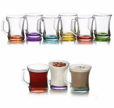 6 X Colored Glass Tea Coffee Cappuccino Cups Hot & Cold Drink Mugs Gift • 8.99£