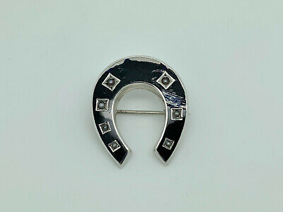 Antique Victorian 900 Solid Silver Enamel & Seed Pearl Horseshoe Brooch A/F • 24.99£