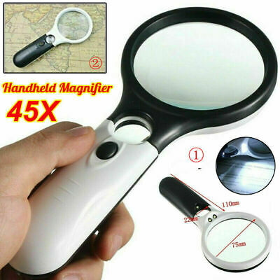 45x Handheld Magnifier Reading Magnifying Glass Jewellery Loupe With 3 LED Light • 7.99£
