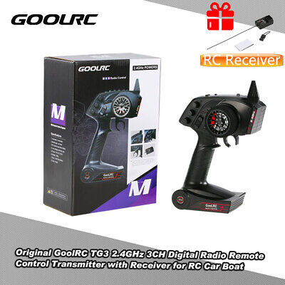 UK GoolRC TG3 2.4GHz 3 Channels Control Transmitter&TG3 Receiver For RC Car Boat • 23.99£