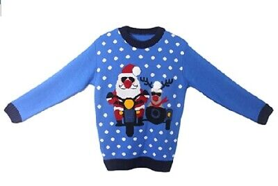 Kids Boys Blue Novalty Xmas Santa And Rudolph On Bike Knitted Christmas Jumper • 8.99£
