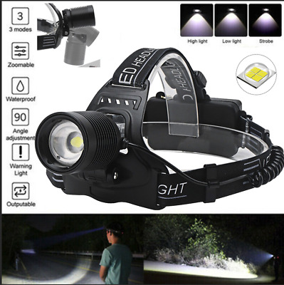 AU33.69 • Buy XHP70.2 Zoom Headlamp Headlight Flashlight LED Rechargeable Head Torch AU