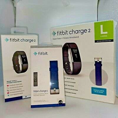 $ CDN84.63 • Buy Large Black Fitbit Charge 2 Fitness Activity Tracker + Extra Blue Band, FB407