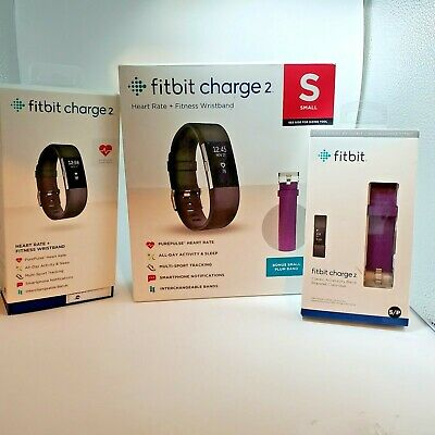 $ CDN84.63 • Buy Small Black Fitbit Charge 2 Fitness Activity Tracker + Extra Plum Band, FB407