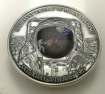 3D Dome Moon Surface Silver Coin First Man On The Landing Apollo U C Flag Retro • 12.99£