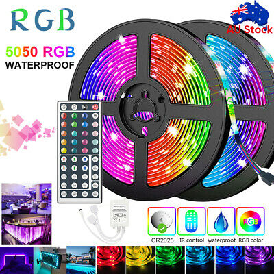 AU18.58 • Buy 5M/10M/20M RGB LED STRIP LIGHTS IP65 5050 12V 44key IR Controller Waterproof 🔥