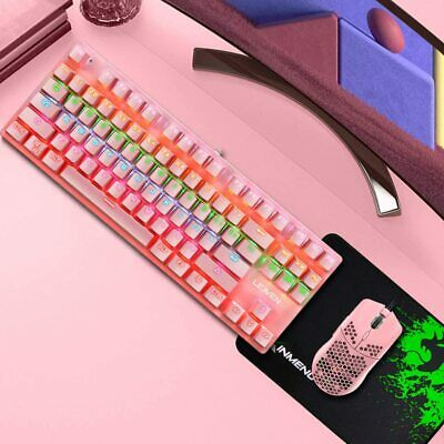 AU71.89 • Buy 87 Keys RGB Backlit Mechanical Gaming Keyboard And Lightweight Mouse + Mice Pad