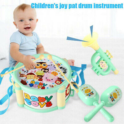 6 IN 1 Toddler Baby Drum Trumpet Instuments Kids Rattle Educational Musical Toys • 6.29£