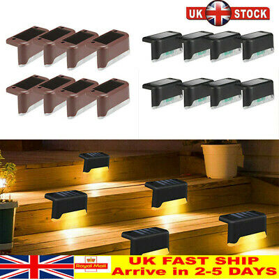 LED Solar Powered Fence Wall Lights Garden Lamp Step Path Decking Outdoor # • 10.99£