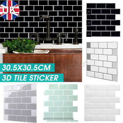 Kitchen Tile Stickers Bathroom 3D Mosaic Self-adhesive Wall Cover Decal Sticker • 7.07£