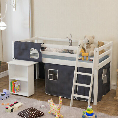 3FT Cabin Bed Kids Mid Sleeper Pine Wood Bed Frame With Desk Play Tent Ladder • 189.95£