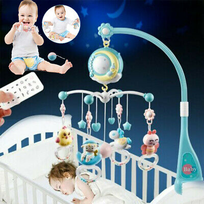Baby Mobile Musical Crib Bed Bell 360° Rotated W/ Projector Night Light Bell Toy • 22.78£