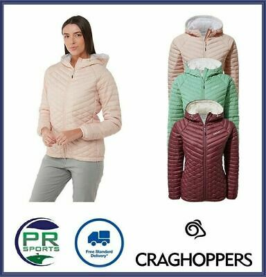 New Craghoppers Womens Outdoor Winter Expolite Hooded Jacket Baffled Down • 44.99£