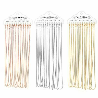£7.45 • Buy Rose Gold / Gold / Silver Plated Snake Chains Plain Necklaces 12 Packs Wholesale