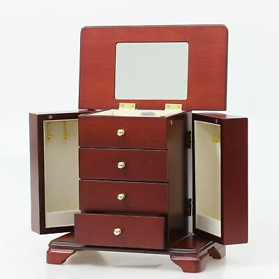 Brown Wooden Floral Walnut Jewellery Box With Drawers Mirror Earring Ring Holder • 19.95£