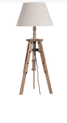 Tripod Table Lamp -   Chic Wooden Base And Linen Shade • 29.99£