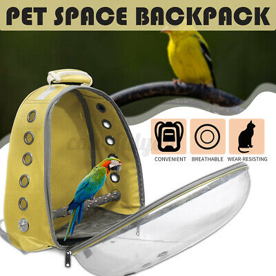 Bird Carrier Cage Pet Parrot Backpack Stands Wood Travel Outdoor Breathable Bag • 28.49£