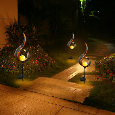 Waterproof Solar Garden Flame Light  Solid Flame Iron LED Torch Lamp Outdoor UK • 10.98£