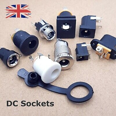 PANEL Or PCB MOUNT DC SOCKET POWER JACK CHARGER PORT WATERPROOF DUST COVER • 16£
