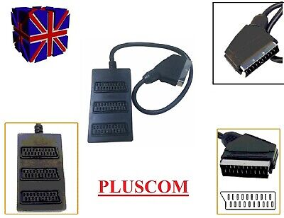 3 Way Scart Lead Cable Wire Splitter Switch Box Adapter Extension Tv Dvd • 5.99£