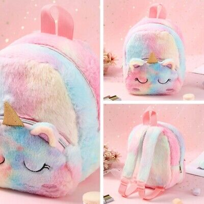 AU13.47 • Buy Mini Plush Unicorn Shoulder Bag Girl Small Cute Colorful Fluffy Teenage<Backpack