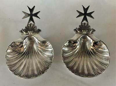 Pair Of Antique Cutajar Silver Plated Scallop Shell Caviar/Butter Dishes C 1900+ • 39.99£
