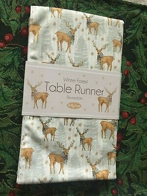 £16 • Buy Bnwt Milly Green Winter Forest Table Runner Stag Christmas 100% Cotton.