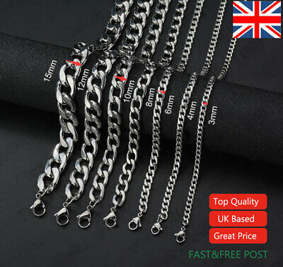 £4.98 • Buy Mens Boys Curb Chain 3MM - 9MM Stainless Steel Silver Cuban Necklace Men 18 -26