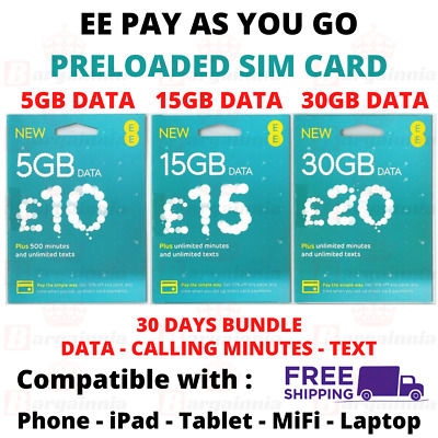 £6.99 • Buy EE DATA SIM Card Preloaded Data Plans For MiFi Dongle WiFi Router IPad Tablet