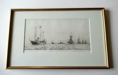 ORIGINAL ETCHING By Rowland Langmaid. The Fleet Review. Signed & With Blindstamp • 175£