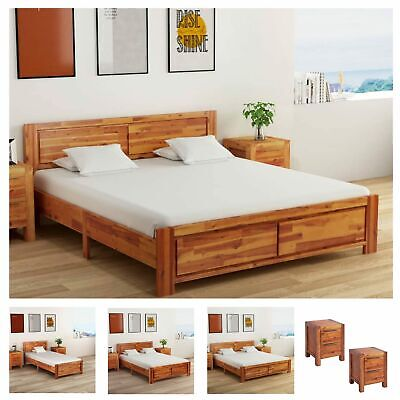 Solid Acacia Wood Bed Frame Rustic Single Double Super King Size Wooden Drawers • 274.99£