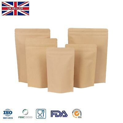 Kraft Brown Paper Foil Zip Lock Bags Food Grade Stand Up Pouches Grade Heat Seal • 1.49£