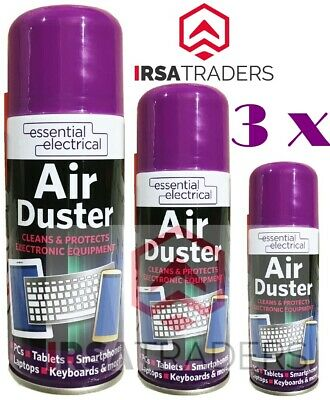 £6.99 • Buy 3 X Air Duster Can Spray Compressed Aerosol Cans Cleans Protects Keyboards 200ml