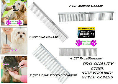 MGT PRO All Breed 4pc GREYHOUND GROOMER COMB SET Steel HAIR Pet Dog Cat Grooming • 39.21£