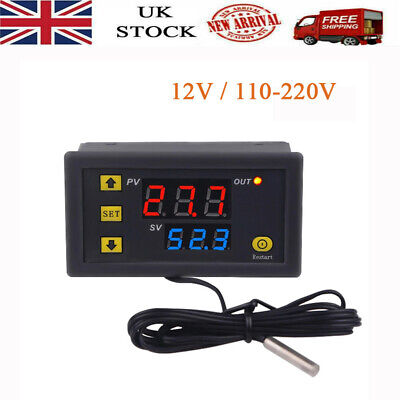 £8.58 • Buy Digital Temperature Controller Switch Probe 10A Thermostat Control 12V/110-220V