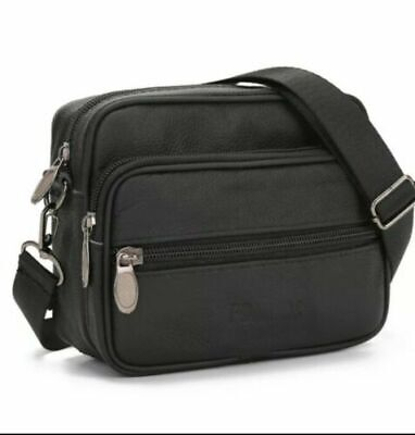 Men's Leather Messenger Bag Cross Body Shoulder Utility Travel Work Bag Black • 10.23£