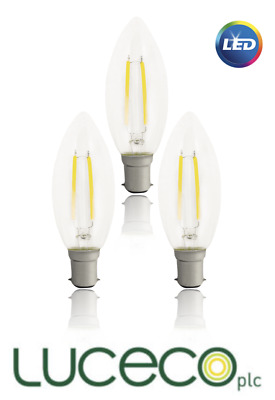 3x Luceco LED B15 Filament Candle Bulbs SBC Low Power Consumption 2.8w Warm Whit • 9.99£