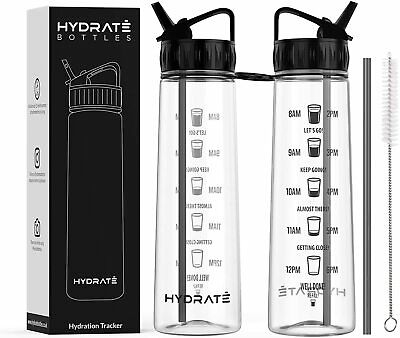 HYDRATE Motivational 900ml Straw Water Bottle – With Time Markings BPA-Free • 13.54£