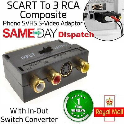 SCART To AV TV Adapter 3 X Phonos/SVHS With IN/OUT Switch Composite S-Video UK • 2.25£