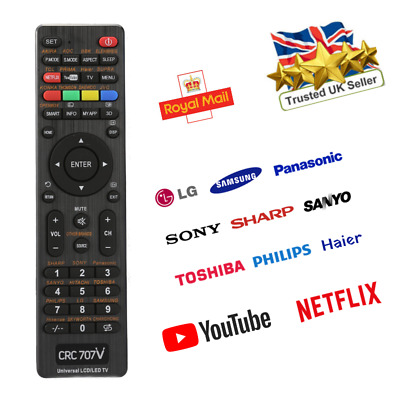 £5.99 • Buy All In One Universal Remote Control For TV Replacement Controller Black